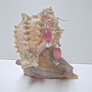 Pink and Silver Bead Earrings, French Hook Back